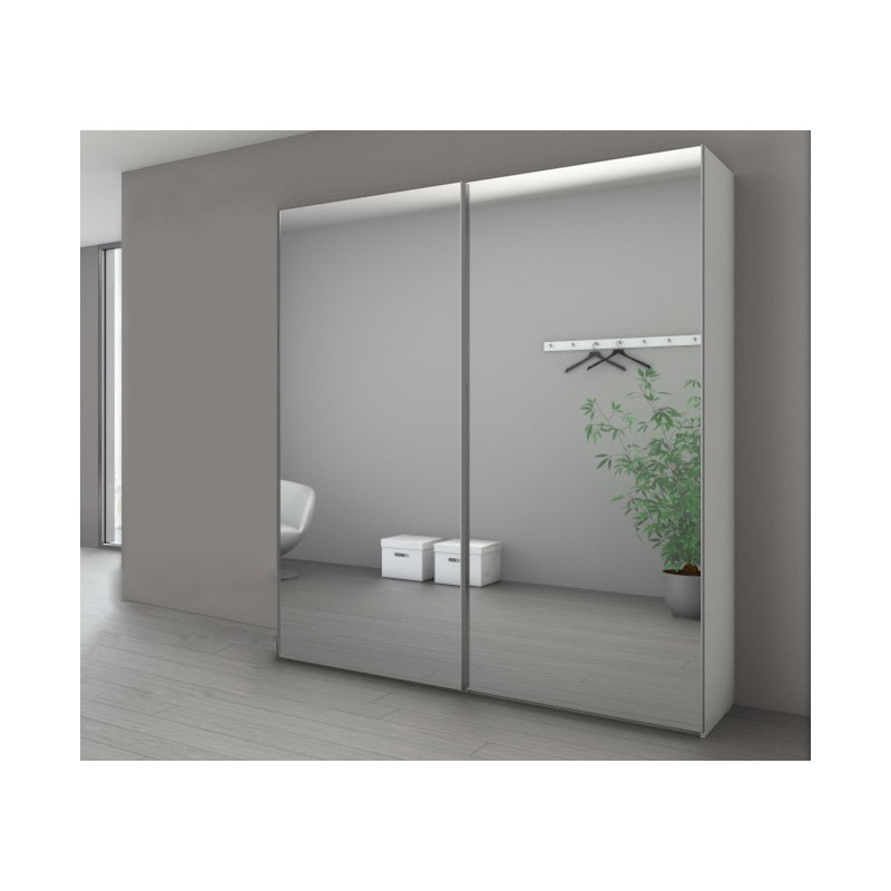 armoire marcato 2 portes coulissantes miroir argent. Black Bedroom Furniture Sets. Home Design Ideas