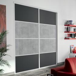 2 portes coulissantes  méla graphite et béton wood 2450 x 1800  alu naturel