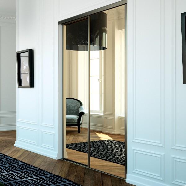 Portes de placard coulissantes miroir bronze - Achat en ligne