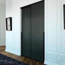 2 portes coulissantes kazed verre laqué déco ellipse noir 2400 x 1400 profil ESQUISSE laqué noir