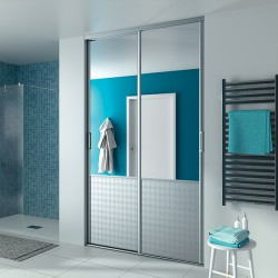 2 portes coulissantes KARMA 1 KAZED miroir argent et céleste blanc pur 2500 x 1300 profil DEDICACE Alu brossé