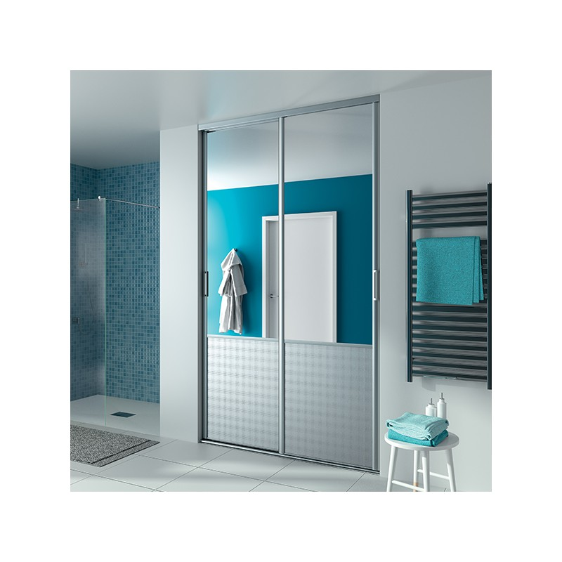 portes de placard coulissantes karma 1 miroir argent et c leste blanc pur. Black Bedroom Furniture Sets. Home Design Ideas