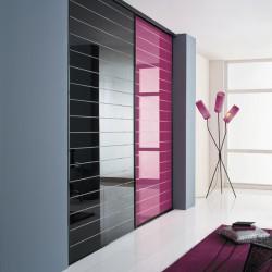 2 portes coulissantes  verre laqué rainuré noir et framboise 2500 x 1900 profil noir mat