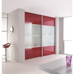 2 portes coulissantes en verre laqué rouge et vitre dépolie 2500 x 1900 profil  Alu naturel