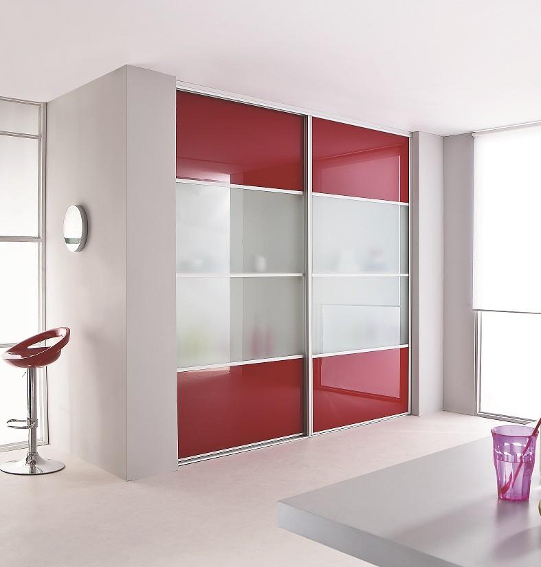 Portes De Placard Coulissante Verre Laqué Rouge Et Vitre Dépolie - Porte placard coulissante de plus porte d intérieur vitrée