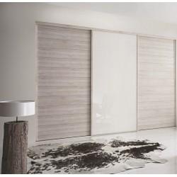 3 portes décor et verre laqué blanc pur 2400x2700