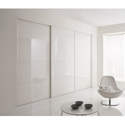 3 portes coulissantes  verre laqué blanc pur 2400 x 2600 profil  blanc mat