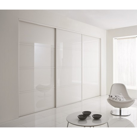 portes coulissantes de placard en verre laqu blanc acheter en ligne. Black Bedroom Furniture Sets. Home Design Ideas