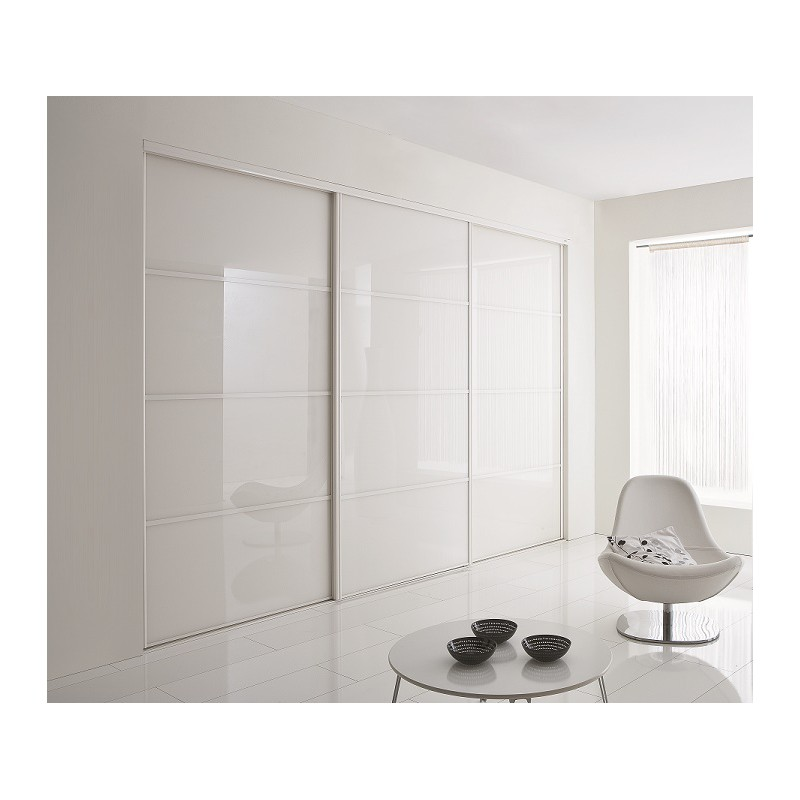 portes coulissantes de placard en verre laqu blanc. Black Bedroom Furniture Sets. Home Design Ideas