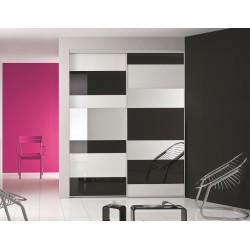 2 portes coulissantes ESTHETE 2 et 1 kazed verre laqué noir blanc pur et miroir argent 2400 x 2000 profil ESQUISSE Alu naturel