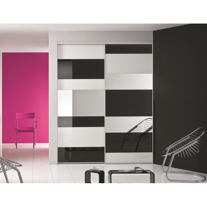 lot de deux portes coulissantes laqu noir et blanc achat en ligne. Black Bedroom Furniture Sets. Home Design Ideas