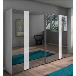 Armoire NOLTE à 2 portes coulissantes miroir gris et verre blanc  ARAGO5