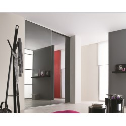 2 portes coulissantes TRADITIONNEL miroir plomb 2500 x 1800 profil NOMADE alu naturel