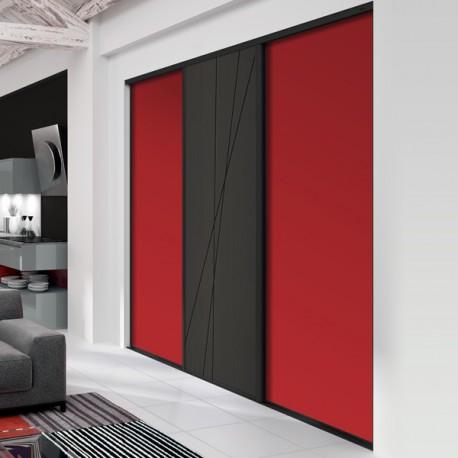 3 portes de placard coulissantes décor groseille et mikado laqué noir