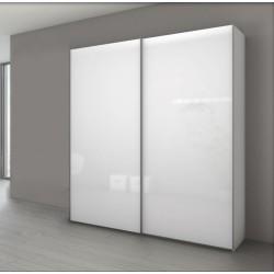 Armoire à 2 portes coulissantes en verre blanc MARCATO 1