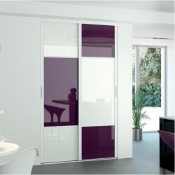 2 portes coulissante en verre laqué prune et blanc pur