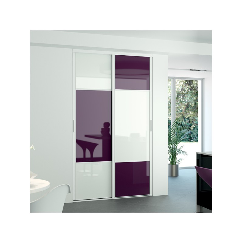 Kazed 2 portes karacter 2 verre prune et blanc achat en for Decoration porte kazed