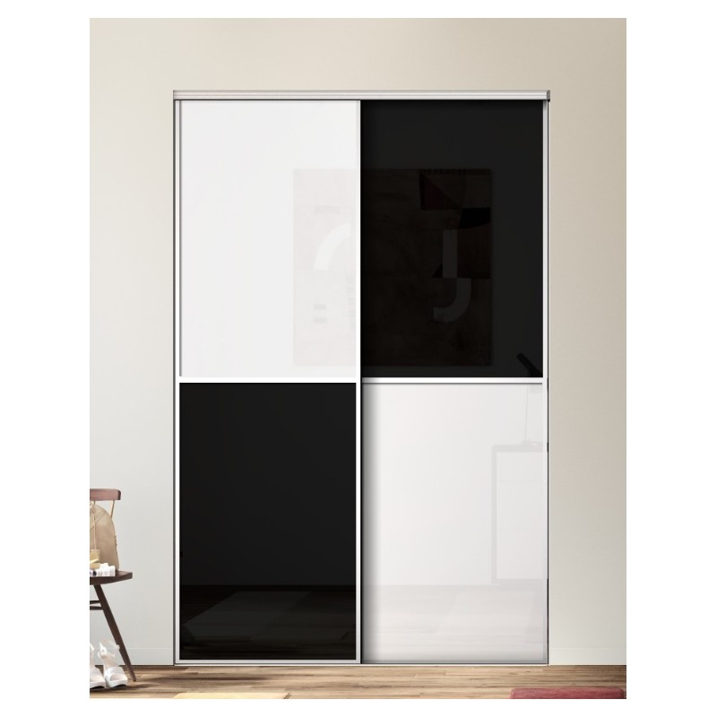 kazed 2 portes karacter 1 verre noir et blanc achat en ligne. Black Bedroom Furniture Sets. Home Design Ideas