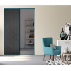 2 portes coulissantes EXPRESSION noir glacé et miroir plomb 2400x1500 DEDICACE Turquoise