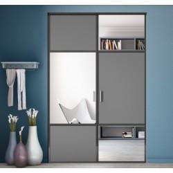 2 portes pivotantes graphite et miroir argent 2000 x 1500