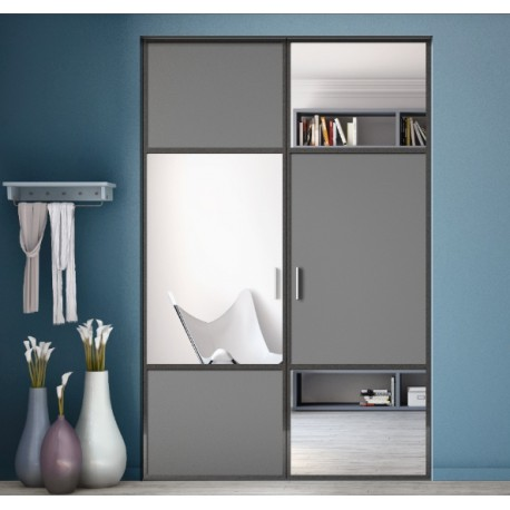 portes de placard pivotantes karacter 2 graphite et miroir. Black Bedroom Furniture Sets. Home Design Ideas