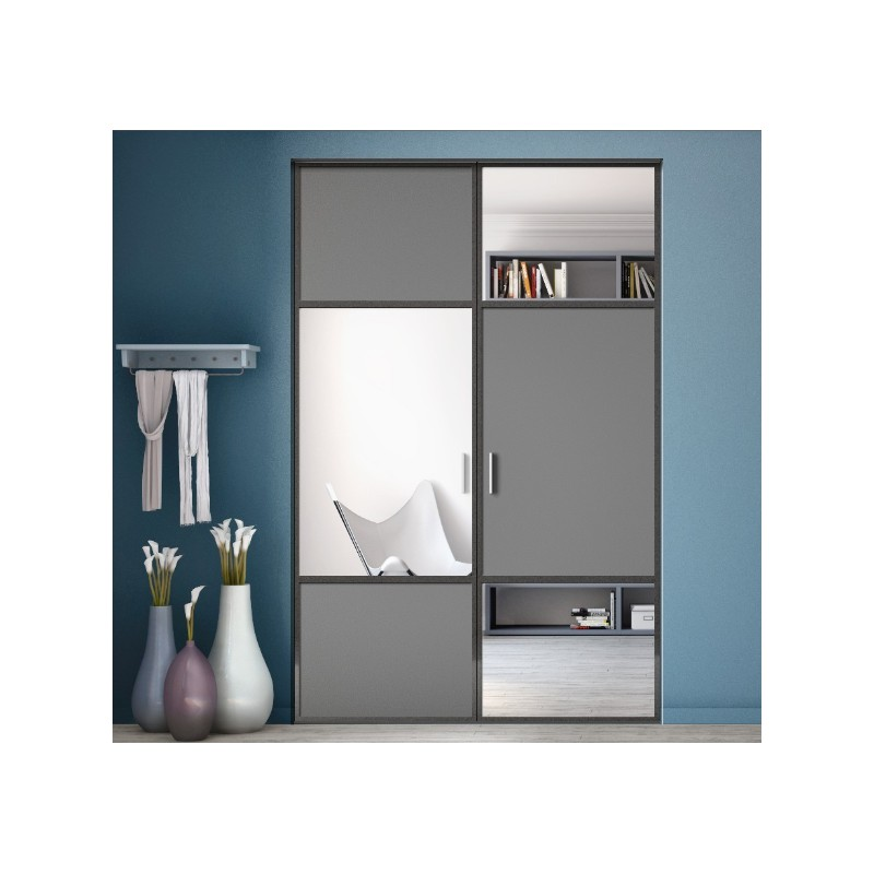 portes de placard pivotantes karacter 2 graphite et miroir argent. Black Bedroom Furniture Sets. Home Design Ideas
