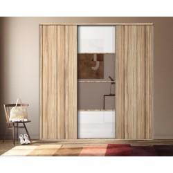 3 portes coulissantes KARACTER 3 verre blanc et miroir bronze et panama  Dédicace panama