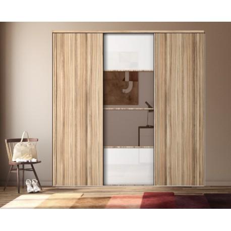 Portes de placard coul Karacter 3 verre bl et miroir bronze et panama