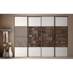 4 portes coulissantes KARACTER 3 en frêne blanc et miroir bronze 2400 x 1600 DEDICACE Wengé cannelé