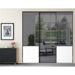 3 portes coulissantes KARMA 1 miroir plomb et méla Blanc mat Dédicace laqué noir mat