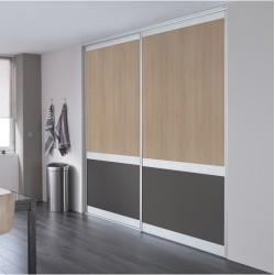 2 portes coulissantes KARMA 1 méla acacia clair et graphite 2450x2000 ESQUISSE Alu naturel