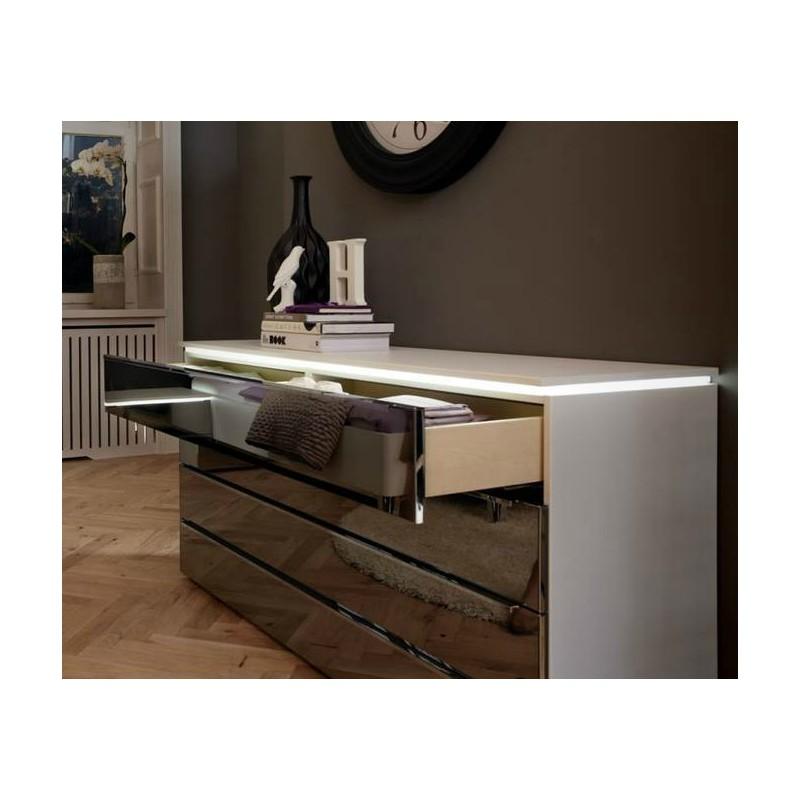Commode Alegro Style Verre Laque Blanc Ht 107cm L160cm P46cm