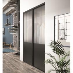 portes coulissantes KZ effet atelier en noir intense et verre dépoli de 2220x1220 ESQUISSE NOIR