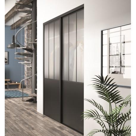 Portes coulissantes kz effet atelier en noir intense et verre d poli de 2220x - Porte coulissante verre noir ...