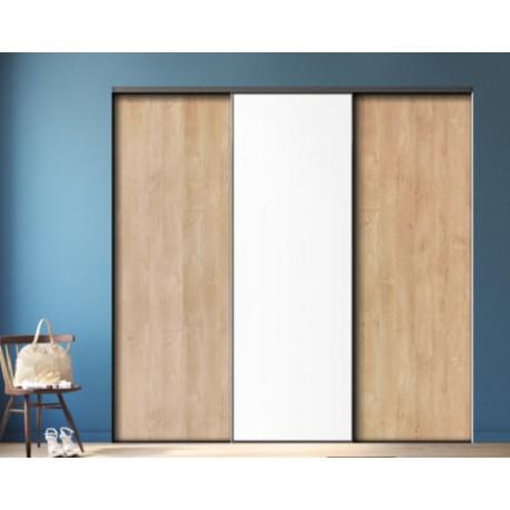 3 portes de placard coulissantes décor chêne blond et blanc mat