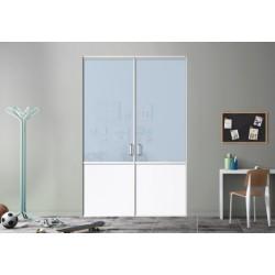 Kazed 2 portes pivotante de placard DEDICACE laqué blanc mat 2500x1500 KARMA 1 verre bleu pastel et blanc perlé