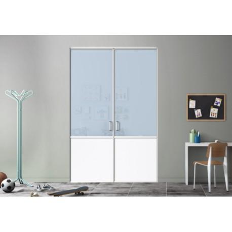 Kazed 2 portes pivotante Dédicace laqué blanc mat KARMA 1 verre bleu pastel et blanc perlé
