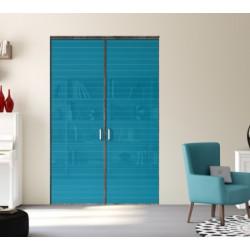 2 portes pivotantes de placard  bois fumé brut 2400x1400   verre rainuré bleu lagon