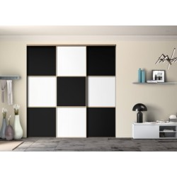 Ambiance Black and White 3 portes coulissantes 2400 x 2400 profil  noir mat
