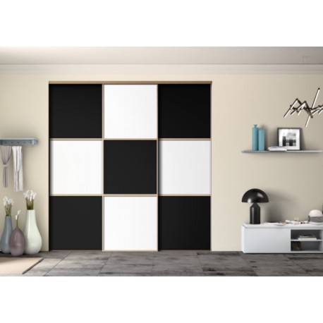 3 portes de placard coulissantes Ambiance Black and White