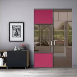 2 portes pivotantes de placard profil laqué noir mat 2500x1500 fuschia et miroir bronze