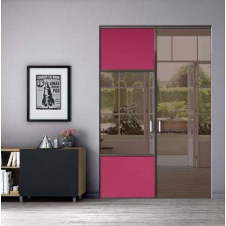 kazed 2 portes pivotantes dedicace laqu noir mat karacter 2 fuschia et miroir bronze. Black Bedroom Furniture Sets. Home Design Ideas