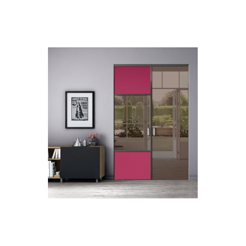 kazed 2 portes pivotantes dedicace laqu noir mat karacter 2 fuschia et miroir bronze. Black Bedroom Furniture Sets. Home Design Ideas