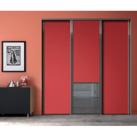 3 portes de placard coulissantes décor groseille et miroir plomb
