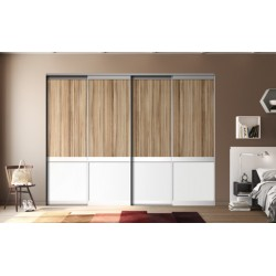 4 portes coulissantes  Panama et blanc mat 2500 x 2000 Profil Alu naturel