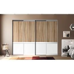 4 portes coulissantes KARMA 1  Panama et blanc mat 2500 x 2000 DEDICACE Alu nat