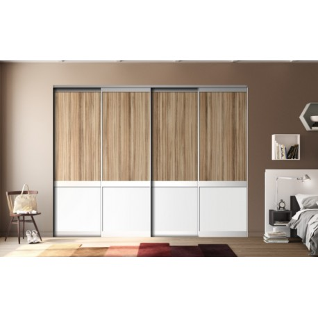 4 portes de placard coulissantes KARMA 1 Panama et blanc mat