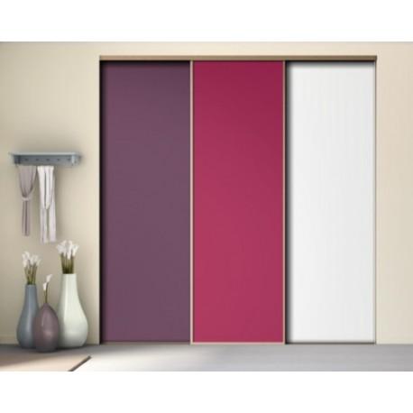 3 portes de placard coulissantes décor aubergine fushia blanc mat