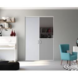 Portes pivotantes 2 vtx  laqué blanc mat 2300x1500 Gris galet miroir plomb et gris intense