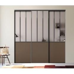 3 portes coulissantes  effet Atelier décor miroir argent et chataigne 2200 x 3100  profil noir mat